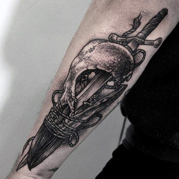 Cool Animal Skull Sword Unique Forearm Tattoos For Men