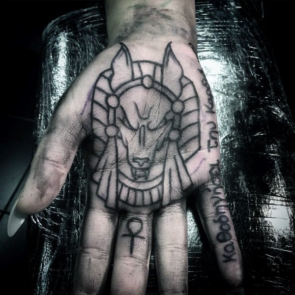 Cool Anubis Palm Tattoos For Men