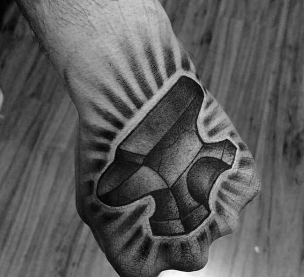 Cool Anvil Hand Tattoo Design Ideas For Male