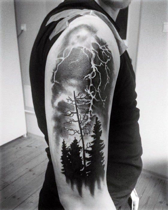 Cool Arm Pine Trees Thunderstorm Tattoo Design Ideas For Male