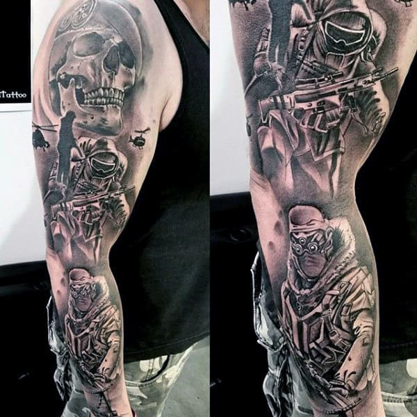 Cool Army Themed Mens Full Sleeve Black Ink Shaded Tattoo With Skull