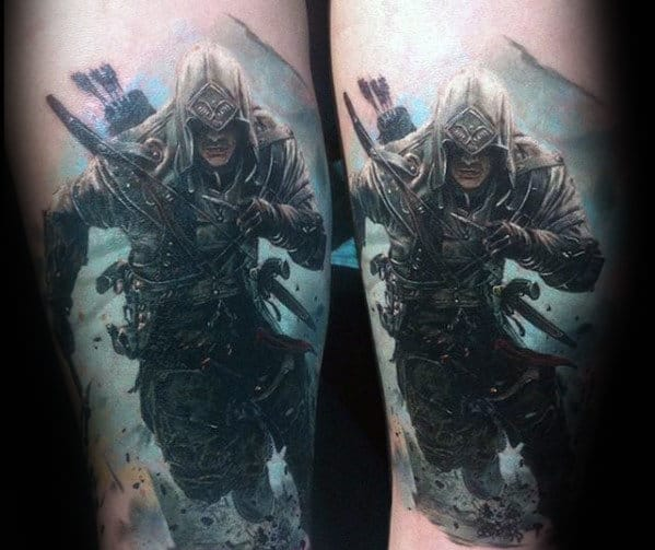 Cool Tattoo Backgrounds: 60 Assassins Creed Tattoo Designs For Men