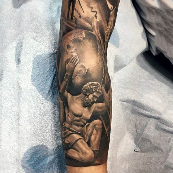 50 fitness tattoos for men bodybuilding design ideas cool atlas holding the world fitness male forearm sleeve tattoo malvernweather Choice Image