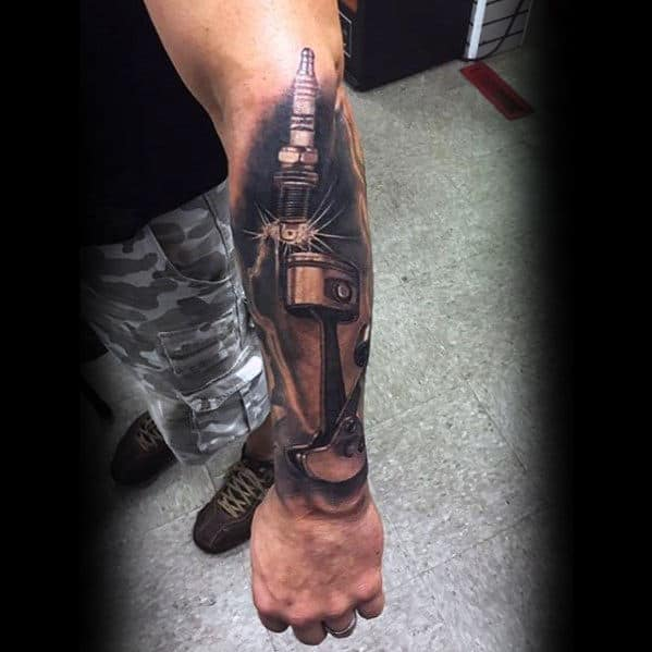 Cool Awesome Guys Piston And Spark Plug 3d Arm Tattoos
