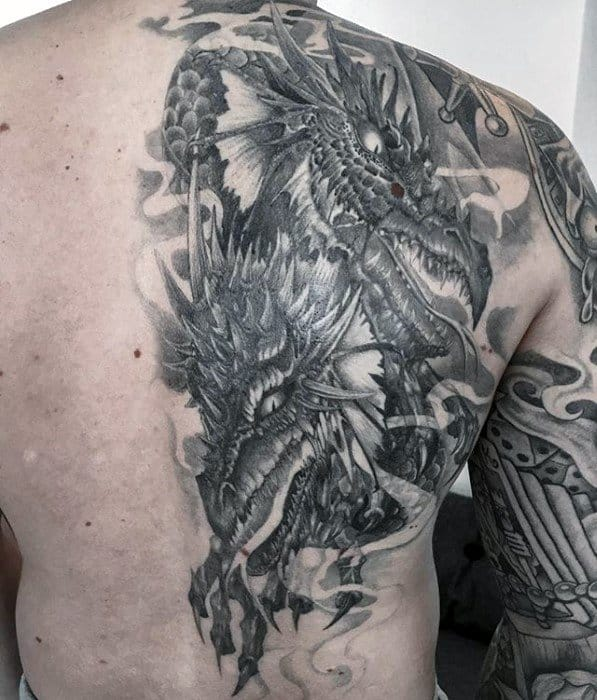 Cool Awesome Half Back Dragon Tattoo Design Ideas For Male