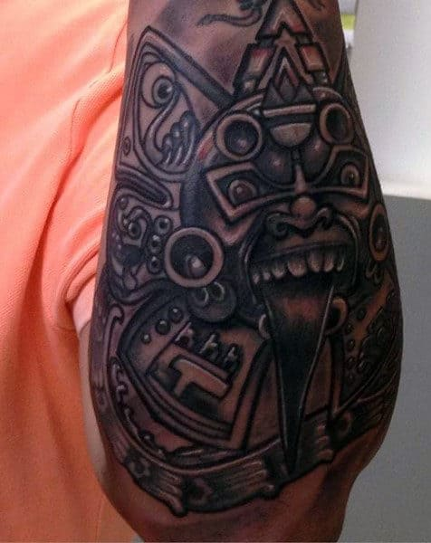 Cool Aztec Pyramid Tattoo For Men On Elbow