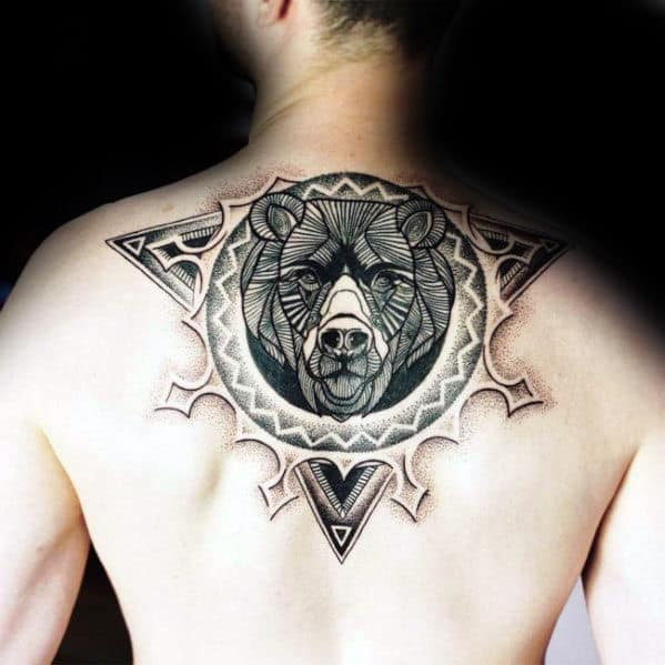 Cool Back Geometric Bear Mens Back Tattoos