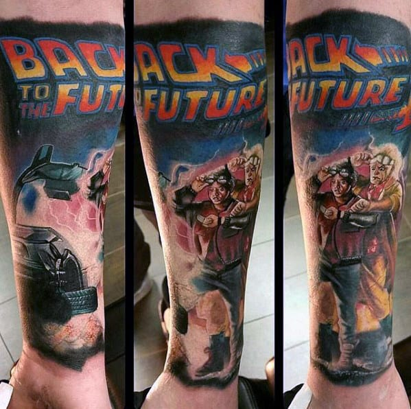Cool Back To The Future Forearm Sleeve Tattoos For Men