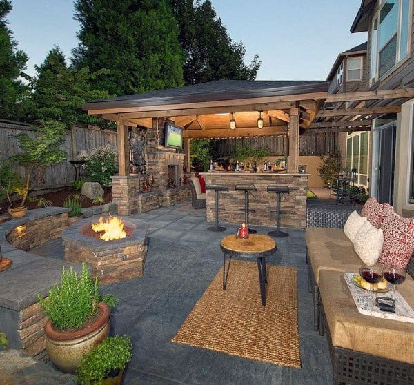 Cool Backyard Bar Ideas With Attached Patio