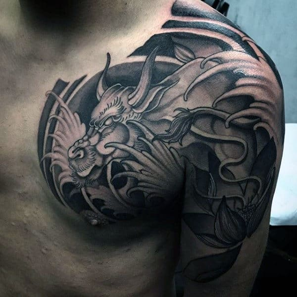 Cool Badass Half Sleeve Dragon Tattoo For Men