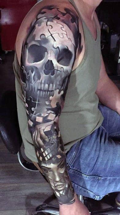 cool-badass-sleeve-skull-tattoo-design-ideas-for-male