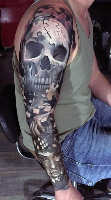 Cool Badass Sleeve Skull Tattoo Design Ideas For Male