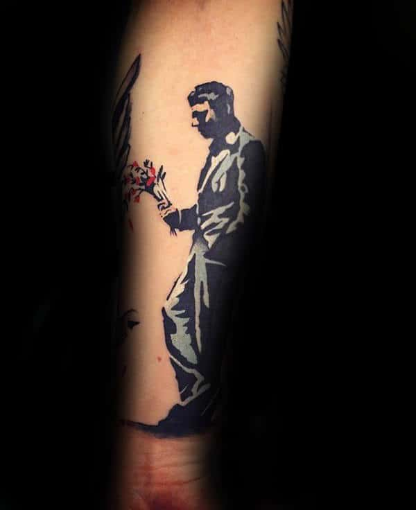 Cool Banksy Sad Man With Flowers Forearm Tattoo For Guys