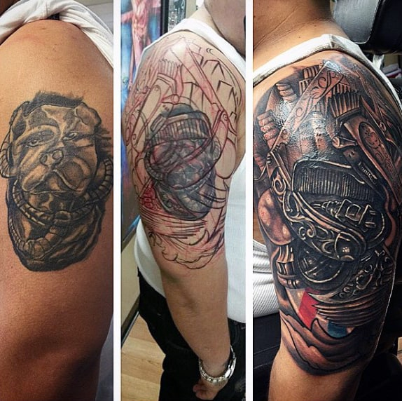 Cool Barbershop Upper Arm Tattoo On Man