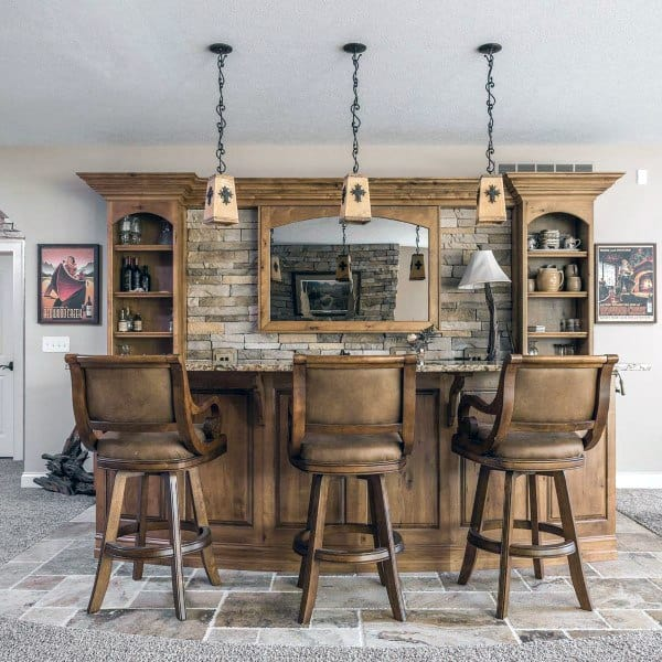 Cool Basements With Rustic Bar