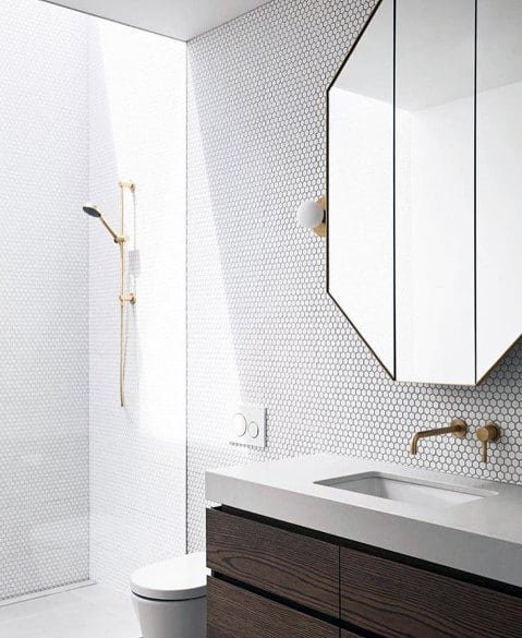 Cool Bathroom Backsplash Contemporary Ideas With White Circle Tiles And Grey Grout