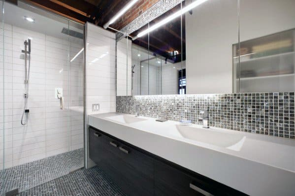 Cool Bathroom Backsplash Design Ideas Black And Grey Square Small Tiles