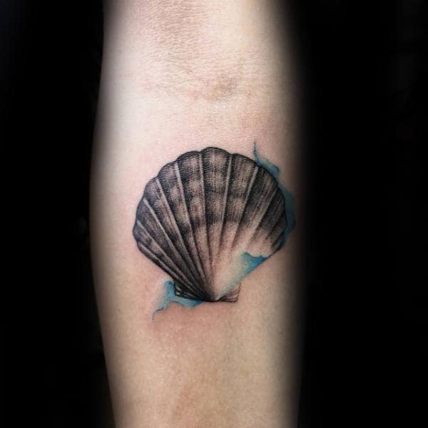Cool Bay Scallop Guys Seashell Small Watercolor Tatoos