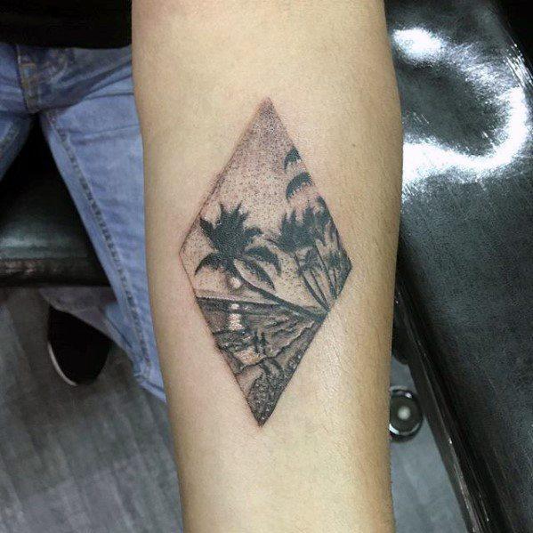 40 small beach tattoos for men seashore design ideas for Beach scene tattoos