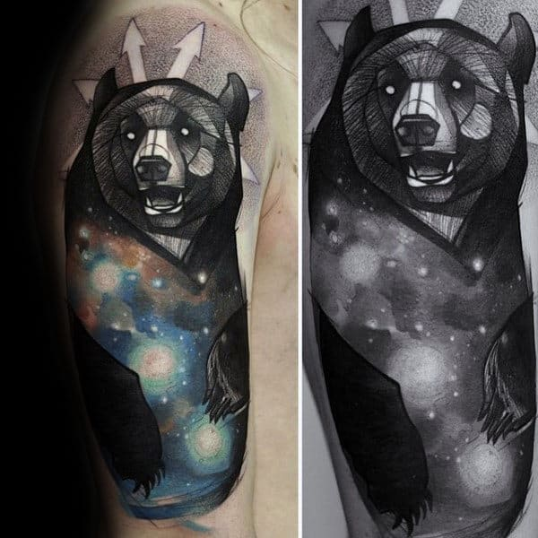 Cool Bear Upper Arm Male Unique Tattoo Ideas