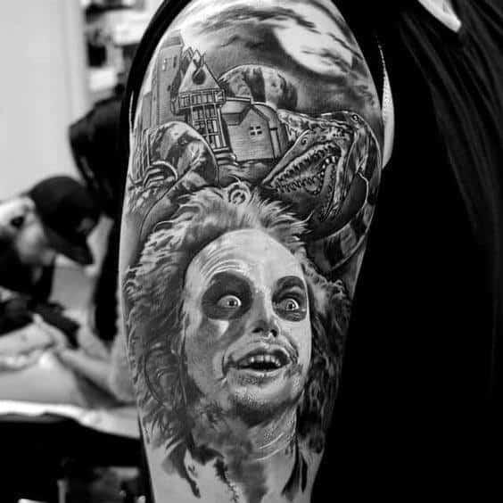 Cool Beetlejuice Themed Guys Half Sleeve Tattoo Inspiration