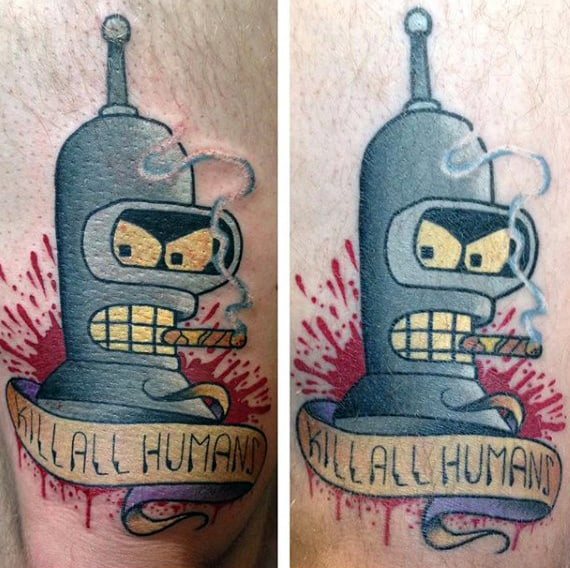 Cool Bender Futurama Mens Arm Tattoos