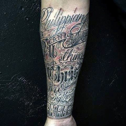 Cool Bible Verse Tattoos For Guys Forearm Sleeve Design Ideas