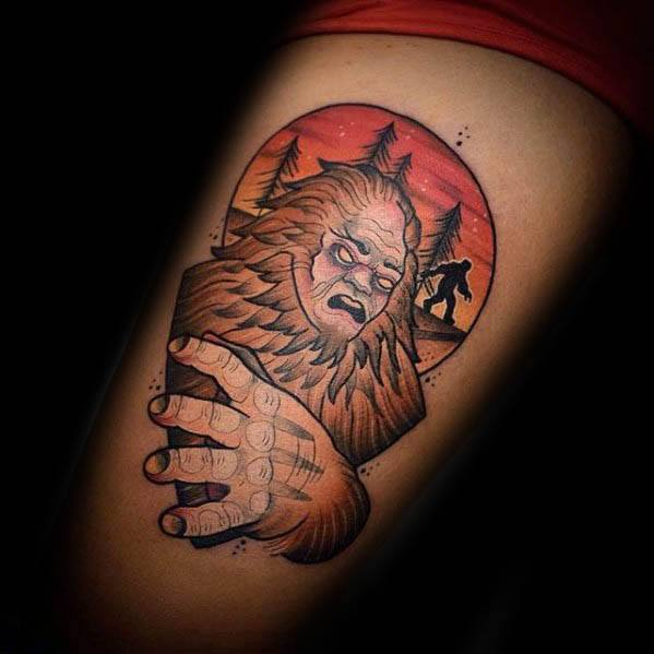 Cool Bigfoot Tattoo Design Ideas For Male On Thigh