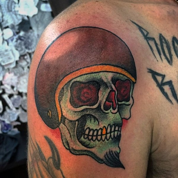 Cool Biker Skull Tattoos For Guys On Upper Arm