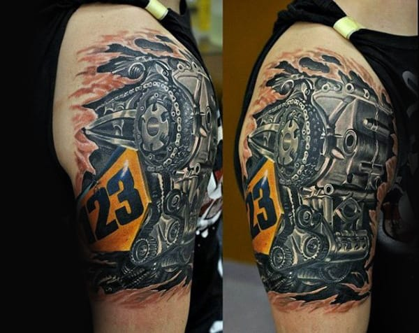 Cool Biker Tattoos For Men With Realistic Engine Design