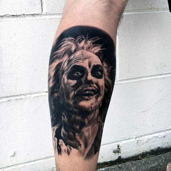 Cool Black And Grey Ink Mens Beetlejuice Leg Sleeve Tattoo Ideas