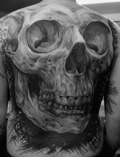 Cool Black And Grey Ink Realistic Skull Guys Back Tattoo Designs