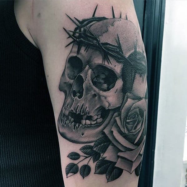 Cool Black And Grey Shaded Skull With Crown Of Thorns Mens Arm Tattoos