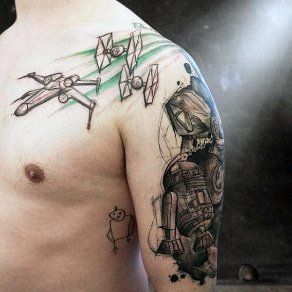 Cool Black And Grey Sketched Guys Rd2d Star Wars Upper Arm And Shoulder Tattoos