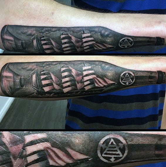 Cool Black And White Ink Ship In A Bottle Forearm Tattoos For Men