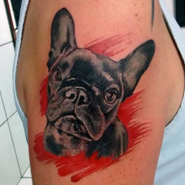 Cool Black Bulldog Mens Upper Arm Tattoo
