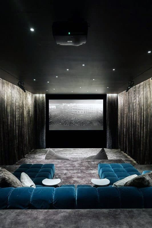 Cool Black Ceiling Movie Room In Home Basement