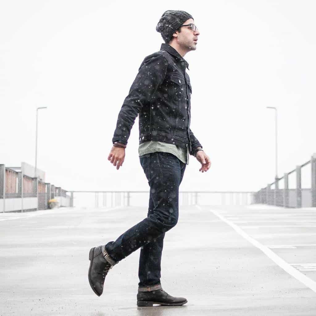 Tenue de veste en jean noir cool