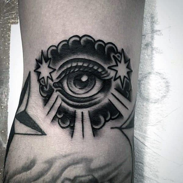 Cool Black Eye Tattoo Mens Forearms