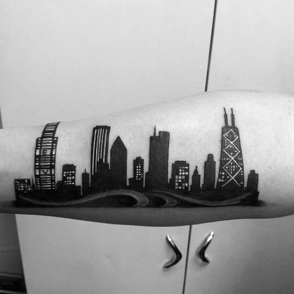 Cool Black Ink Chicago Skylien Outer Forearm Tattoo For Men