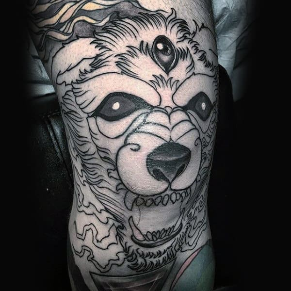 Cool Black Ink Outline Knee Wolf Tattoo On Male