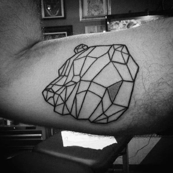 Cool Black Ink Outline Tattoo Of Geometric Bear On Mans Biceps