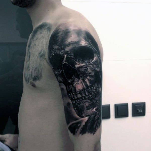 Cool Black Ink Shaded Guys Arm Tattoos