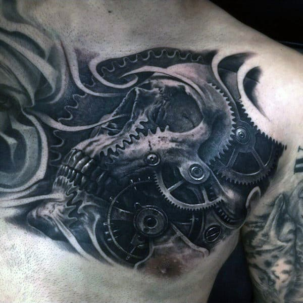 Cool Black Ink Skull With Gears 3d Male Chest Tattoos