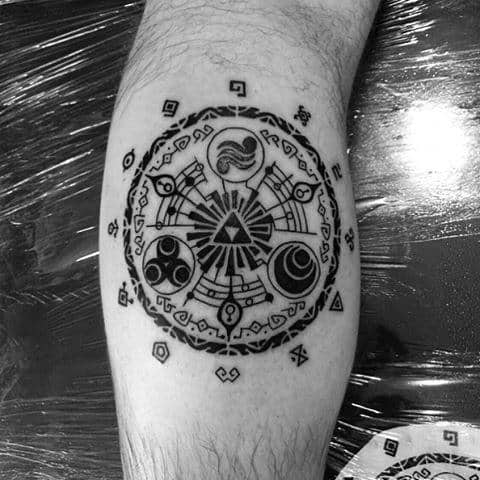 Cool Black Ink Zelda Symbol Guys Leg Calf Tattoo Ideas
