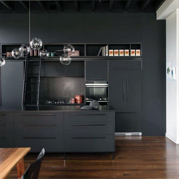 Cool Black Kitchen Cabinet Design Ideas Modern