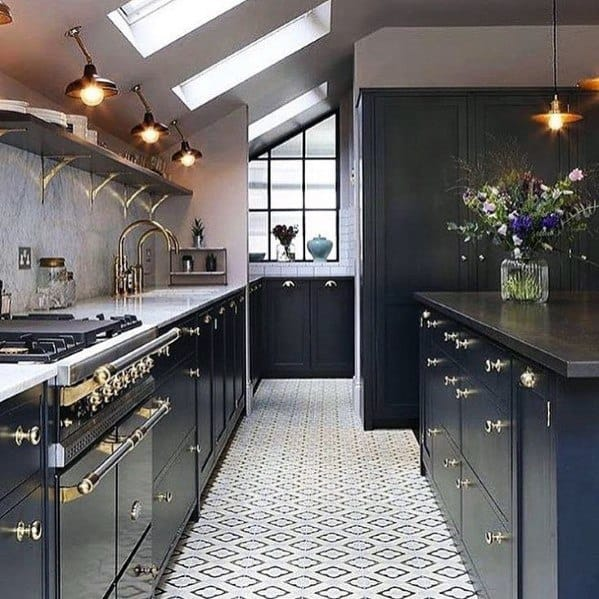 Cool Black Kitchen Cabinet Vintage Design