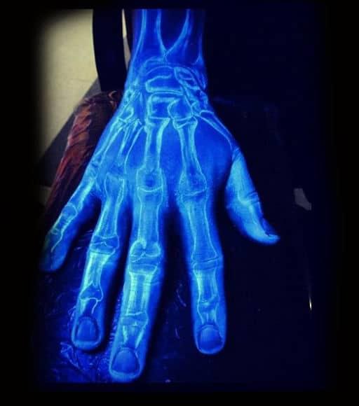 Cool Black Light Skeleton Hand Of Glow In The Dark Bones Design For Guys