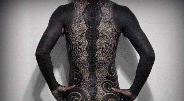 Cool Black Tattoo Male Back