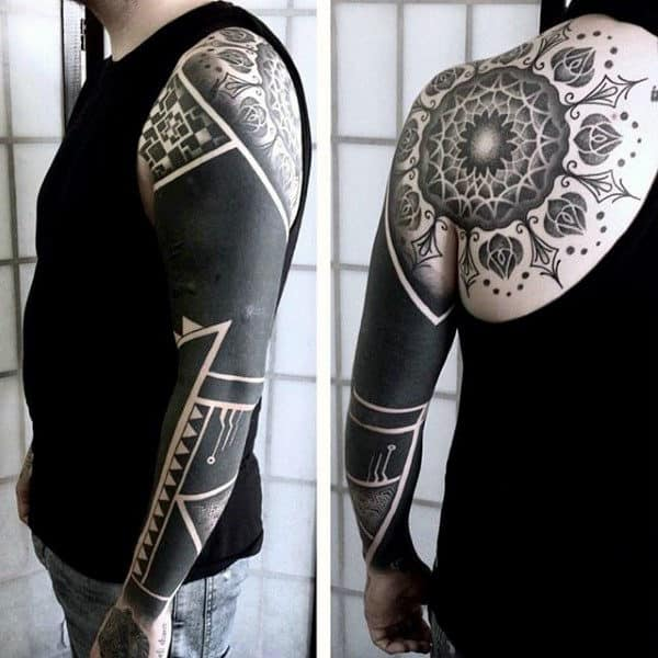 Cool Blackwork Mens Full Sleeve Tattoo Design